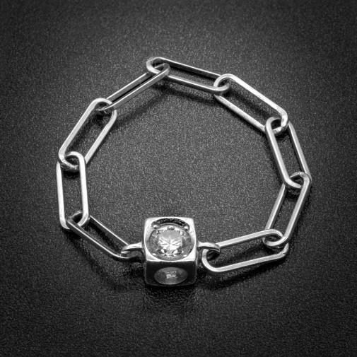Bague Cube sur chaîne or blanc 18k et diamant