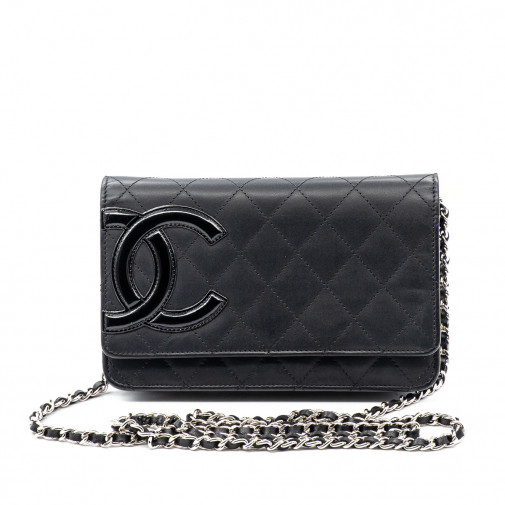 Bolso Wallet on Chain Cambon de piel negra