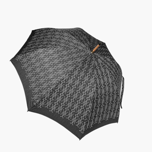 Parapluie en toile de coton imperméabilisé noir et gris