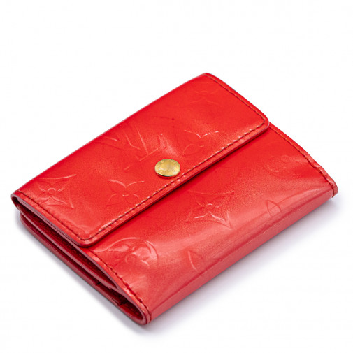 Porte-monnaie Ludlow cuir verni rouge orangé