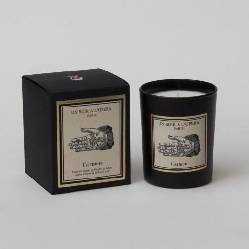 Vela perfumada CARMEN - Hojas de tabaco y flor de Cassie segun el Opéra de Bizet (Vendido en juegos de 2 velas)