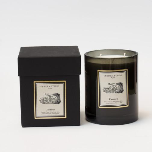 Velas perfumadas 3 mechas - CARMEN hojas de tabaco y  flor Cassie inspirado del ópera de Bizet 1KG