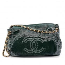 Grand sac porté-main et épaule en cuir verni souple vert foncé