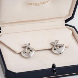 Pendientes de oro blanco 18k y diamantes Coeur Lien Croisé Tamaño Grande