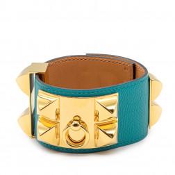 Bracelet Collier de Chien Epsom bleu paon