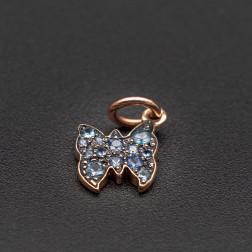Encanto DODO Mariposa de oro rosa y con zafiros.