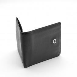 Tarjetero y billetera en piel granulada negra.