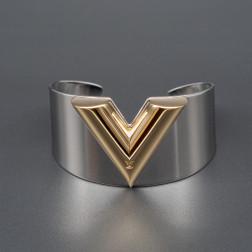 Brazalete Essential V Cuff en acero y chapado en oro