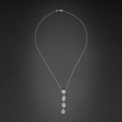 Collier et pendentif or blanc 18k et diamants.