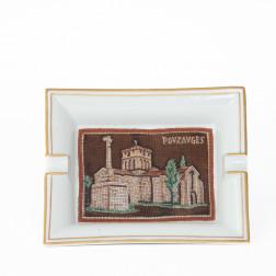 Cenicero conmemorativo de porcelana Pouzauges