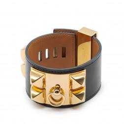 Bracelet Collier de Chien cuir noir et plaqué or
