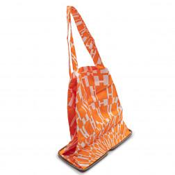 Sac pliable SilkyPop en soie imprimée orange et cuir marron